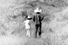 Man and Boy, Near Hohhot, Inner Mongolia, China